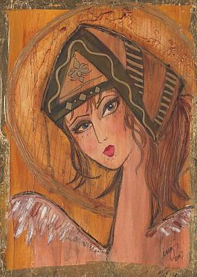 Religious Art Mixed Media - Girl In The Green Hat by Inger Ostrom