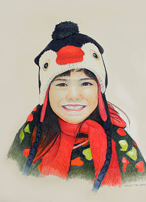 Girl In The Penguin Cap Art Print