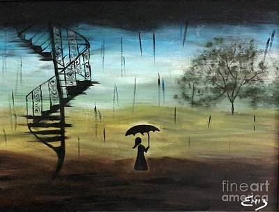 Tim Painting - Girl In The Rain by Emily Marie