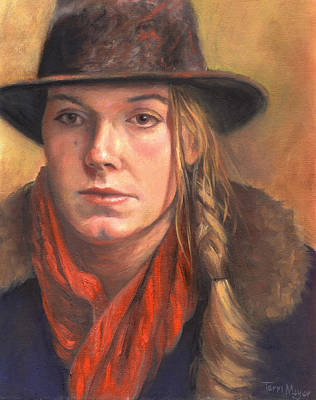Girl In The Red Scarf Art Print by Terri  Meyer