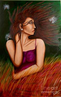Painting - Girl In Wind by Saranya Haridasan