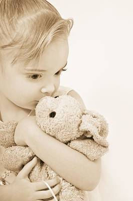 Animals Photos - Girl Kissing Her Stuffed Animal by Chris and Kate Knorr