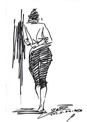 Sketch Drawing - Girl Leaning Against Wall by Ylli Haruni