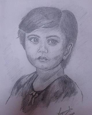 Drawing - Girl by Lupamudra Dutta