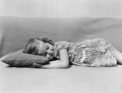 Nap Photograph - Girl Napping On Couch, C.1940s by H. Armstrong Roberts/ClassicStock