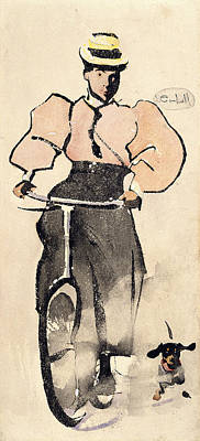 Bicycle Drawing - Girl On A Bicycle, C.1896 by Joseph Crawhall
