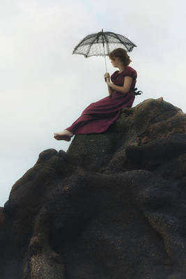 Thoughtful Photograph - Girl On A Rock by Joana Kruse
