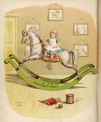 Girl On A Rocking Horse, Riding Art Print