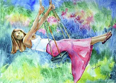 Swing Painting - Girl On A Swing  by Trudi Doyle