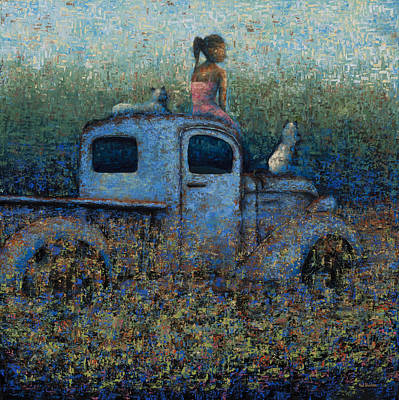 Girl On A Truck Art Print by Ned Shuchter