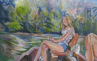 Trolling Painting - Girl On Boat by Devin Hunter