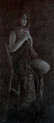 Drawing - Girl On Chair by Lynn Hughes
