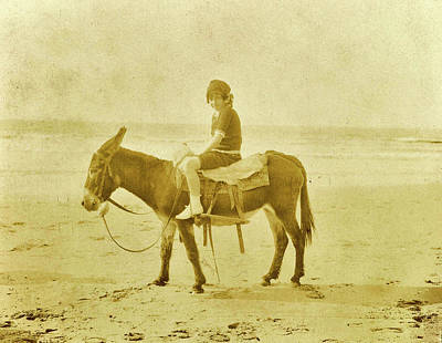 North Sea Drawing - Girl On Donkey On The Beach North Sea, The Netherlands Or by Artokoloro