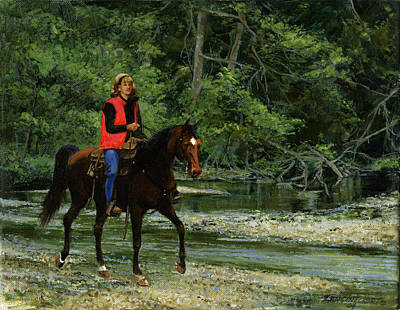 Girl Riding Horse Painting - Girl On Horse by Don  Langeneckert