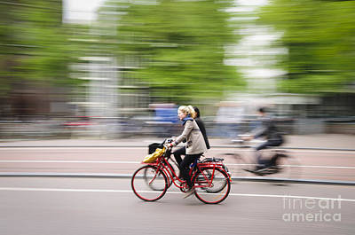 Bicycle Photograph - Girl On Red Bicycle by Oscar Gutierrez
