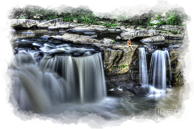 Art Print featuring the photograph Girl On Rock At Falls by Dan Friend