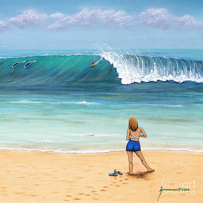 Girl On Surfer Beach Art Print by Jerome Stumphauzer