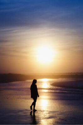 New Jersey Photograph - Girl On The Beach At Sunrise by Bill Cannon