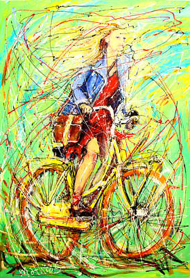 Girl On Bike Painting - Girl On The Bike by Mathias