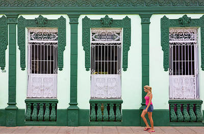Trinidad House Photograph - Girl Passing An Old House, Trinidad by Keren Su