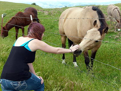 Photograph - Girl Petting Horse by Jeff Lowe
