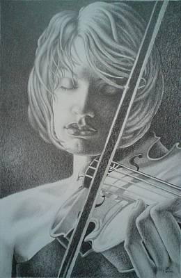 Drawing - Girl Playing The Violin. by Zdzislaw Dudek