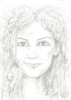 Characterizations Drawing - Girl Portrait by Levon Saryan