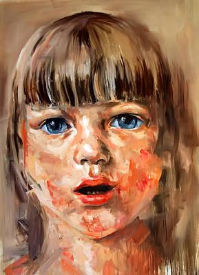 Light Paint Drawing - Girl Portrait by Michael Tsinoglou