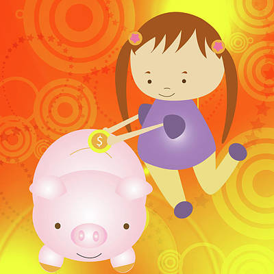 Piggy Bank Wall Art - Photograph - Girl Putting A Coin Into A Piggy Bank by Fanatic Studio / Science Photo Library