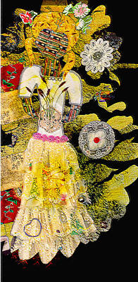 Mixed Media - Girl Quilt - Fabric Girl - Nature Girl - Yellow Sunlight by Marie Jamieson
