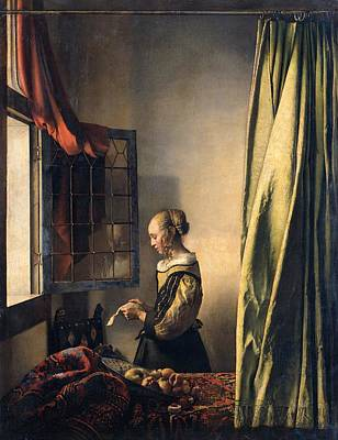 Girl Reading A Letter By An Open Window Art Print by Johannes Vermeer