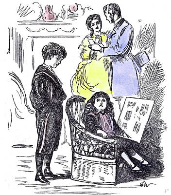 Old School House Drawing - Girl Reading At Home 1874 Chair Parents Brother Sister by English School