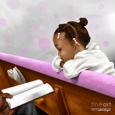African-american Digital Art - Girl Reading Neighbor's Bible by Josh Kennedy