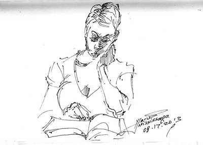 Sketch Drawing - Girl Reading by Ylli Haruni