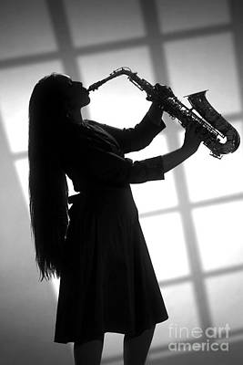 Saxophone Photograph - Girl Saxophone Musician In Window In Sepia 3254.01 by M K  Miller