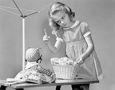 Girl Scolding Aunt Jemima Doll, C.1940s Art Print
