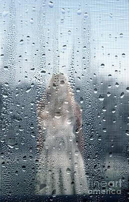Photograph - Girl Seen Through Rainy Window by Jill Battaglia