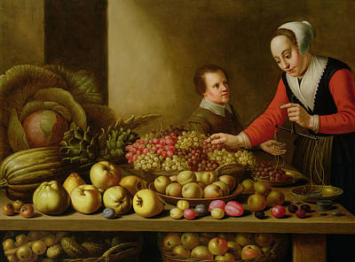 Quince Painting - Girl Selling Grapes From A Large Table Laden With Fruit And Vegetables by Floris van Schooten