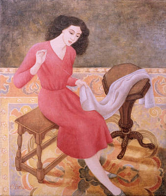 Stool Painting - Girl Sewing, 1991 by Patricia O'Brien