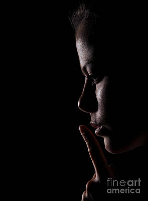 Profile Shadow Photograph - Girl Shows Silence Gesture by Aleksey Tugolukov