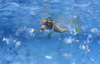 Snorkelling Photograph - Girl Snorkeling In The Caribbean by Carson Ganci