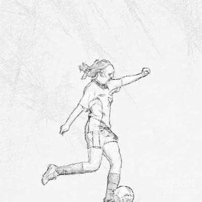 Girl Soccer Player Charcoal Sketch Art Print