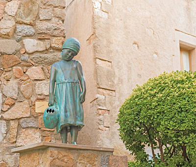 Girl Statue In Tossa De Mar Medievaltown In Catalonia Spain Art Print