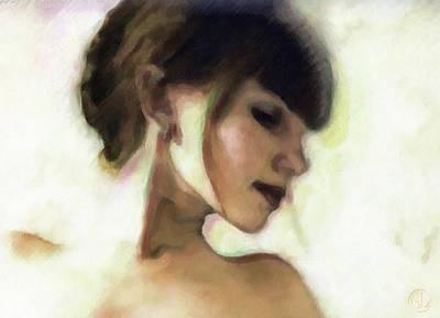 Girl Profile Digital Art - Girl Study by Gun Legler