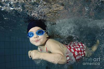 Girl Swimming Underwater Art Print