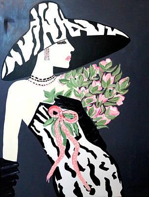 Girl That Loves Pink  Art Deco Art Print