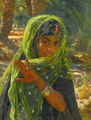 Shawl Painting - Girl Veiling by Etienne Dinet
