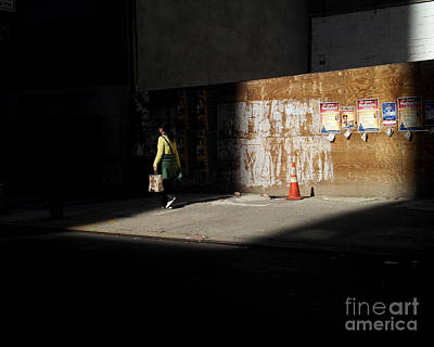 Photograph - Girl Walking Into Shadow - New York City Street Scene by Miriam Danar