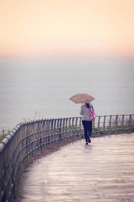 Girl Walking With Umbrella Art Print