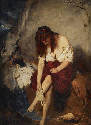 Hair-washing Painting - Girl Washing By A River by Nikolaos Gyzis